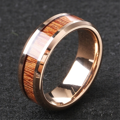 아재몰 아재 반지_Classic 8mm Tungsten Carbide Ring Wood High Hardness Tungsten Steel Engagement Rings for Men