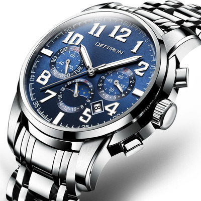 아재몰 기계식 손목시계_DEFFRUN Calendar Moon Phase Automatic Mechanical Watches Stainless Steel Men Watches