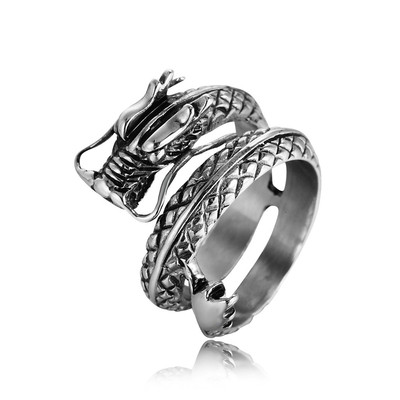 아재몰 아재 반지_REZEX Vintage Chinese Dragon Mens Stainless Steel Ring Men Jewelry With Case