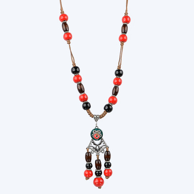 아재몰 아재 목걸이_Unisex Vintage Ceramics Beads Necklace Ethnic Long Pendant Adjustable Sweater Necklaces