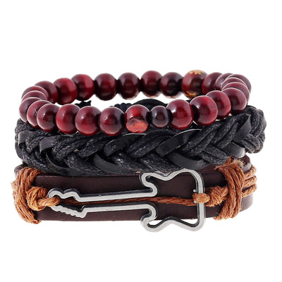 아재몰 아재 팔찌_Vintage Buddha Beads Bracelet Guitar Charm Multilayer Cow Leather Bracelet Wristband for Men