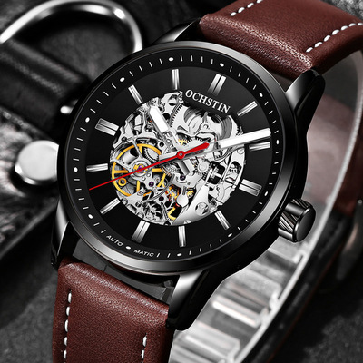 아재몰 기계식 손목시계_OCHSTIN 62001 Automatic Mechanical Watches Luminous Display Leather Strap Clock Men Wrist Watch
