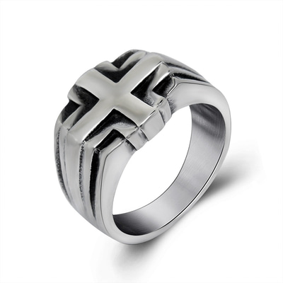 아재몰 아재 반지_Fashion Vintage Punk Cross Male Titanium Steel Ring Mens Stainless Steel Jewelry