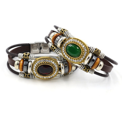 아재몰 아재 팔찌_Retro Unisex Multilayer Stainless Steel Beads Bracelet Ethnic Rhinestone Geometric Leather Bracelet