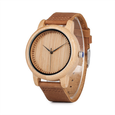 아재몰 디자인 손목시계_BOBO BIRD C-A15 Unisex Wrist Watch Casual Style Leather Strap Wood Quartz Watch