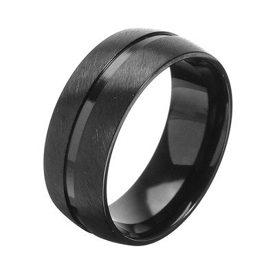 아재몰 아재 반지_8mm Black Stainless Steel Men Ring Jewelry Clothing Accessories