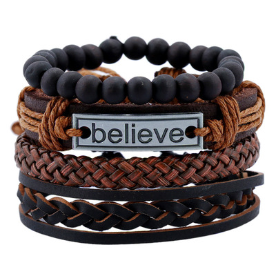 아재몰 아재 팔찌_Vintage Leather Bracelet Believe Words Charm Multilayer Weave Beaded Bracelet for Men
