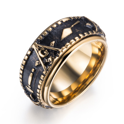 아재몰 아재 반지_Ethnic Masonic Pattern Stainless Steel Finger Rings Vintage Rotatable Ring Fashion Jewerly For Men