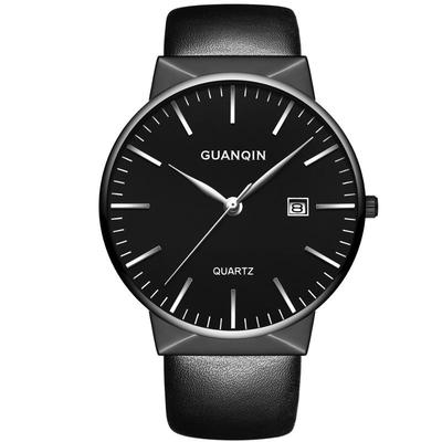 아재몰 디자인 손목시계_GUANQIN GS19058 Luxury Men Quartz Watch Fashion Leather Strap Wrist Watch