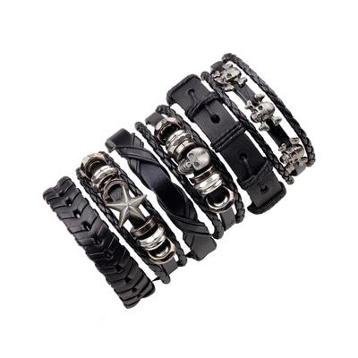 아재몰 아재 팔찌_Multilayer Genuine Leather Skull Adjustable Bracelet Trendy Wax Rope Bangle Wrist