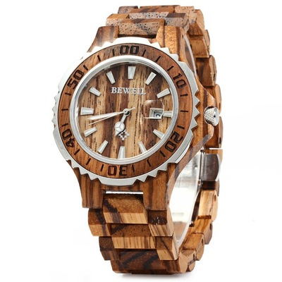 아재몰 디자인 손목시계_BEWELL ZS-100BG Luminous Hands Calendar Wood Watches Waterproof Quartz Unisex Watch
