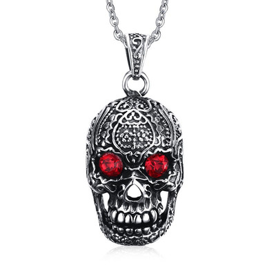 아재몰 아재 목걸이_Fashion Mens Jewelry Titanium Steel Chain Red Eye Skull Pendant Necklace for Men