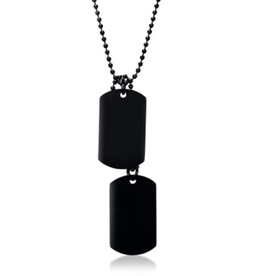 아재몰 아재 목걸이_Men Stainless Steel Hangtag Pendant Chain Trendy Black Plating Necklace