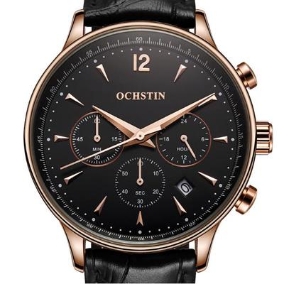아재몰 디자인 손목시계_OCHSTIN GQ050A Fashion Leather Strap Men Quartz Watch Luxury Sub-dial Business Watch