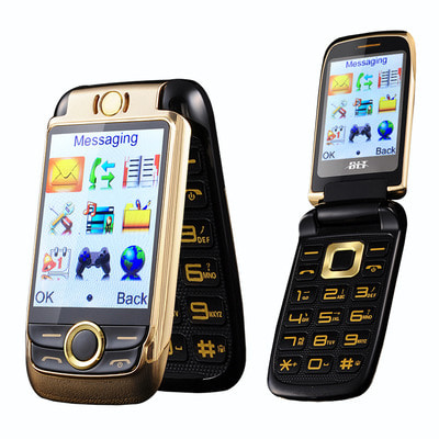 아재몰 해외직배송_피처폰_BLT V998 2.6 2000mAh Dual Touch Screen Dual SIM Magic Voice Flip Feature Phone