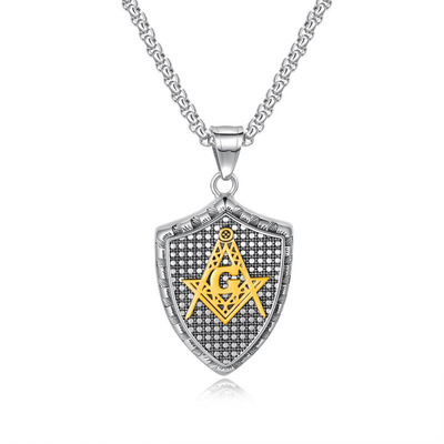 아재몰 아재 팔찌_Fashion Pendant Necklace Geometric Shield Stainless Steel Chain Charm Necklace Jewelry for Men