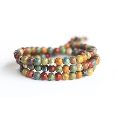 아재몰 아재 팔찌_108pcs Tibetan Buddhist Bohemian Ceramic Multilayer Beaded Bracelet for Women for Men