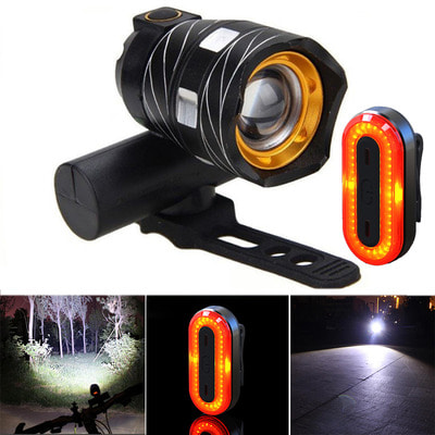 아재몰 자전거 라이트 조명세트_XANES ZL01 800LM T6 Bike Light 3 Modes Waterproof and STL03 100LM IPX8 Bicycle Taillight