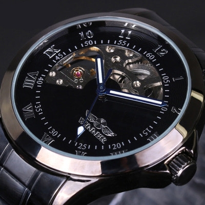 아재몰 기계식 손목시계_4805 Military Style Men Wrist Watch Stainless Steel Strap Self-Wind Mechanical Watch