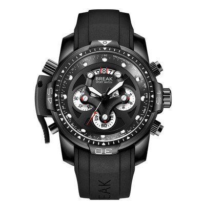 아재몰 디자인 손목시계_BREAK 5601 Multifunction Men Watch Military Style Rubber Strap Quartz Movement Watch