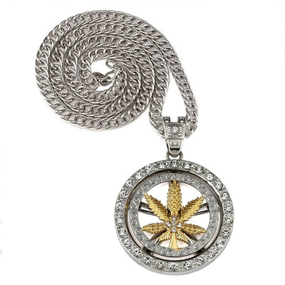아재몰 아재 목걸이_Hip Hop Spinning Snake Chain Marijuana Gold Leaf Pendant Necklace Wholesale for Men
