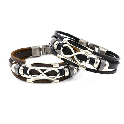 아재몰 아재 팔찌_Multilayer Infinity Knot Bracelet Casual Fashion Leather Bracelets for Men Women