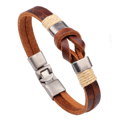 아재몰 아재 팔찌_European Style Retro Vintage Leather Men Bracelet Buckle Double layers Chain