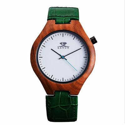 아재몰 디자인 손목시계_KENON KWWT-71 Fashion Wooden Case Men Quartz Watch Leather Strap Wrist Watch