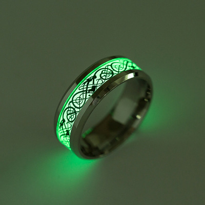 아재몰 아재 반지_Fashion Luminous Stainless Steel Finger Ring Dragon Pattern Punk Gift for Men