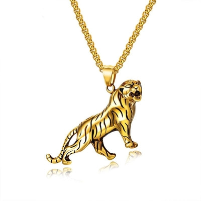 아재몰 아재 목걸이_Personality Domineering Gold Silver Mens Chain Necklace Tiger Titanium Steel Pendant