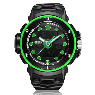 아재몰 디지털 손목시계_OHSEN AD1712 Dual Display Digital Watch Outdoors Sport Men Luminous Alarm Waterproof Watch