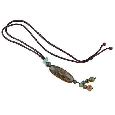 아재몰 아재 목걸이_Unisex Vintage Tibetan Beads Nine Eye Agate Pendant Necklaces Simple Style Necklace
