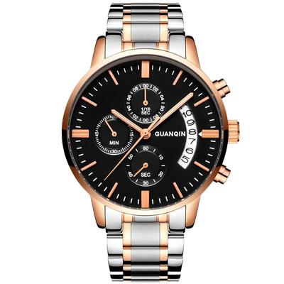 아재몰 아재 일반 손목시계_GUANQIN GS19053 Luxury Multi-function Men Quartz Watch Fashion Fine Steel Strap Wrist Watch