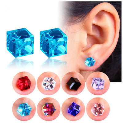 아재몰 아재 귀걸이_Creative Unisex Cubic Crystal Magnetic Clip Earring Fashion Magnet No Piercing Colorful Earrings