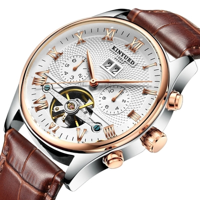 아재몰 기계식 손목시계_KINYUED JYD-J012 Calendar Automatic Mechanical Watch Roman Numeral Leather Strap Men Watch