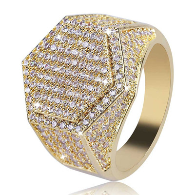 아재몰 아재 반지_Gold Hip Hop Hexagon Finger Ring Micro Zircon Gemstone Gold Silver Plated Rings for Men