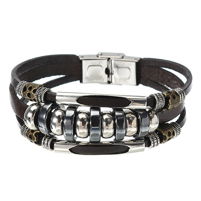 아재몰 아재 팔찌_Multilayers Leather Stainless Steel Men Bracelet Jewelry Clothing Accessories