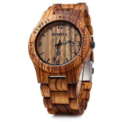 아재몰 디자인 손목시계_BEWELL ZS-W086B Men Natural Wooden Auto Calendar Display Fashion Quartz Wrist Watch