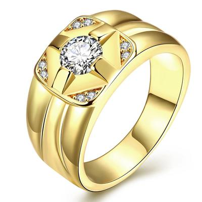 아재몰 아재 반지_Fashion K Gold Plated  Mens Rings Zircon Brass Finger Ring for Men