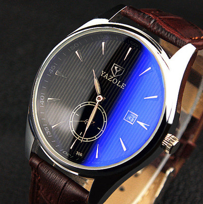 아재몰 아재 일반 손목시계_YAZOLE 306 Men Fashion Casual Luminous Hands Calendar Leather Quartz Watch