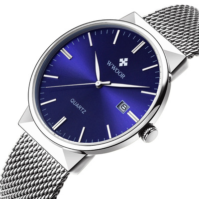 아재몰 아재 일반 손목시계_WWOOR 8826 Ultra Thin Stainless Steel Watches Men Fashion Calendar Quartz Watch