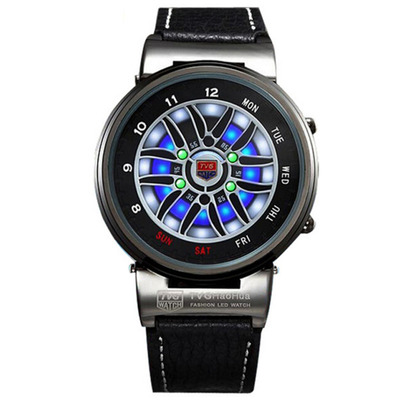 아재몰 디자인 손목시계_TVG X6 Creative Design Car Wheel LED 3D Dials Leather Strap Alloy Case Outdoor Sports Watch