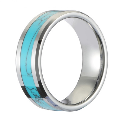 아재몰 아재 반지_Classic 8mm Tungsten Carbide Ring Blue Turquoise High Hardness Engagement Rings for Men