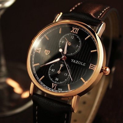 아재몰 아재 일반 손목시계_YAZOLE 355 Men Watch Luminous Fashion Classic Leather Strap Male Quartz Wrist Watch