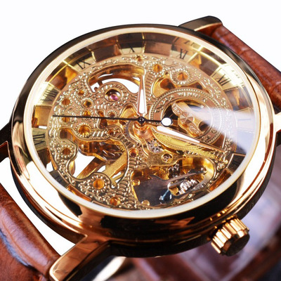 아재몰 기계식 손목시계_WIN358-5 Business Style Men Watch Transparent Golden Case Self-Wind Mechanical Watch