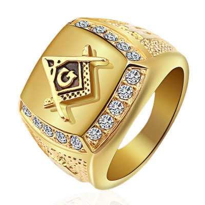 아재몰 아재 반지_Fashion Gold Titanium Steel Finger Ring Rhinestone Free-Mason Logo Jewelry Gift for Men