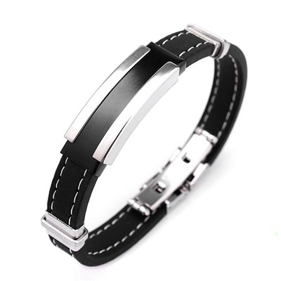 아재몰 아재 팔찌_Men Silver Stainless Steel Bangle Bracelet Black Rubber