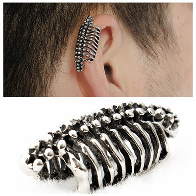 아재몰 아재 귀걸이_Unisex 1PC Punk Skull Spine Bone Non Pierced Ear Clips Earring