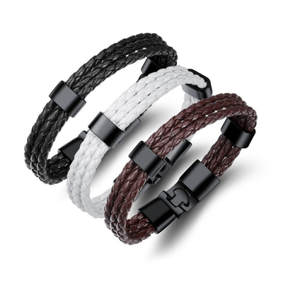 아재몰 아재 팔찌_20cm Vintage Leather Bracelet Multilayer Woven Wristhand for Men