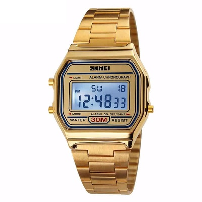 아재몰 디지털 손목시계_SKMEI 1123 Rectangle Digital Stainless Steel Band Fashion Luxury Men Women Unisex Wrist Watch